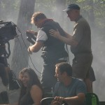Shooting battle scene at Camp Sayre